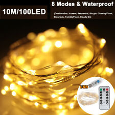 10M 10LED 8 Mode  USB String Fairy Lights Outdoor Party Wedding Xmas Light Lamp