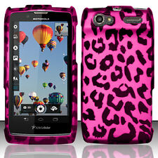 For Motorola Electrify 2 XT881 Rubberized HARD Case Snap Cover Hot Pink Leopard