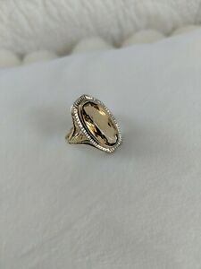 Antique 14k Yellow & White Gold Filigree Oval Citrine Ring Size 6.25