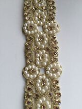 ATTRACTIVE INDIAN PEARLS FLOWERS WITH CRYSTALS  LACE/TRIM ON NET -Sold By METRE
