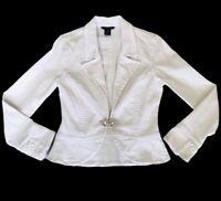 Boston Proper White Denim Fitted Jean Jacket Rhinestone Hook Closure Women SZ 4