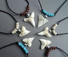 SHARK TOOTH NECKLACE X 6 PIECES sharks teeth mix red rasta black brown cream