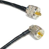 RG58 Silver PL259 UHF Male to UHF Male Angle Coax RF Cable USA Lot