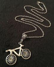 "Bike Bicycle Necklace 24""Chain BMX Indi Pendant Charm Hipster Race UK Rockabilly"