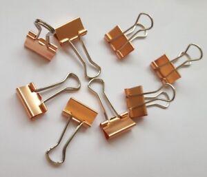 10 x 19mm ROSE GOLD COPPER metal BINDER FOLD BACK BULLDOG CLIPS PLANNER CLIPS