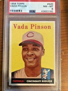 1958 Topps Baseball Card #420 Vada Pinson Rookie Card PSA 8
