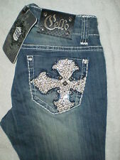 Cello Mid Rise Stretch Boot Cut Denim Blue Jeans Size 2 X 34 New Embellished $99