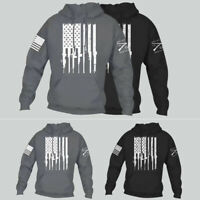 Men Grunt Ammo Flag Pullover Hoodie Loose Sweater Patriot Sweatshirt Charcoal