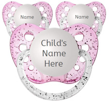 3 Girl Personalized Pacifiers - Glitter Pink - Name Binky - 3 Glitter Soothers