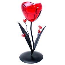 glass Romantic Candleholder/  - Single Heart Flower. perfect gift item