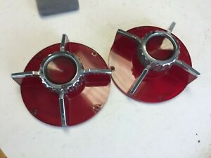 PAIR ORIGINAL 1965 FORD FALCON TAIL LIGHT LENSES WITH BEZELS, STAMPED FOMOCO