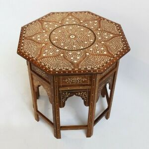 Made To Order Indian Handmade Camel Bone Inlay Round Side Table Brown Floral