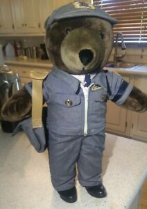 Vintage J J Wind Plush USPS Mail Man Letter Carrier Patriot Teddy Bear 1980's