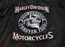 HARLEY 12 INCH TOP BOTTOM ROCKER WITH 9 INC SPADE SKULL 3PC BACK PATCH