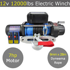 12V 12000lb Electric Winch 9mm x28m Blue Dyneema Rope 4WD 4x4 13000lbs 12000lbs