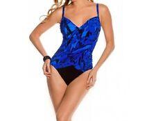 Magicsuit One Piece Sz 12 Blue Black Multi Swimsuit Adjustable Strap 454714