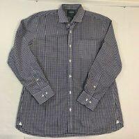 BONOBOS Dress Shirt Gingham Navy Blue White Wrinkle Free Slim Fit 17 35