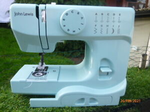 BOXED : JOHN LEWIS: JL MINI SEWING MACHINE in SPEARMINT & INSTRUCTION BOOKLET