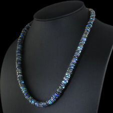 TOP CLASS 247.00 CTS NATURAL UNTREATED BLUE LABRADORITE BEADS NECKLACE GEMSTONE