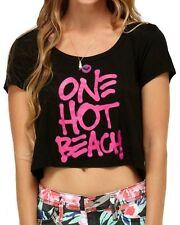 ROXY Women's Black One Hot Beach Printed Short Sleeve Crop Top Graphic Tee Shirt