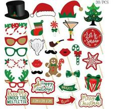 30pcs Merry Christmas Photo Booth Props Xmas Party Beard Selfie Game Santa Claus
