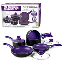 8PC PURPLE COOKWARE NON STICK KITCHEN PAN SET SAUCEPAN FRYING PAN POT INDUCTION