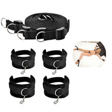 Under Bed Bondage Set Restraint Rope Kit Ankle Cuffs System BDSM Toy - Black