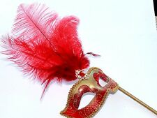RED & GOLD FEATHER HAND HELD MASK & STICK VENETIAN CARNIVAL MASQUERADE PARTY