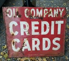 LARGE Vintage Embossed Oil Company Credit Card  Gas Station Sign. RARE. MANCAVE