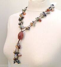 PIETRE DURE NATURALI MULTICOLORE COLLANA 2 FILI DONNA , NECKLACE NATURAL STONES