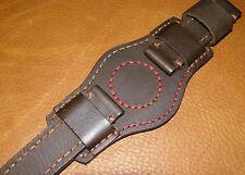 Big Bund Strap 24mm for 44 - 55 mm Watch Leather Handmade Dark Brown Band