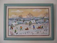 """Charlotte Julian - """"Jeux de neige"""" - Art Naïf - Acrylique - Tableau -"""