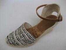 Eric Michael Womens Shoes NEW $100 Karina Black Beige Espadrille Wedge 36 6