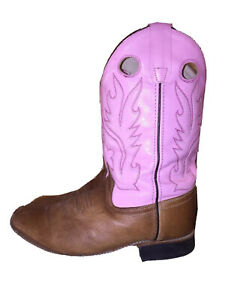 Old West Women's Leather Embroidered Square Toe Western Boots Pink Tan SZ 6*