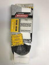 Men's Dickies Premium Steel Toe Boot Crew Work Socks 2 Pairs 6-12 WHITE