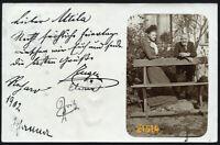 elegant older couple, cigarette, Vintage Post Card photo, 1902
