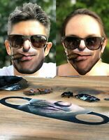 NEW 3D LASER PRINT CIGAR FACE FUNNY MASK COVER REUSABLE WASHABLE FABRIC USA FAST