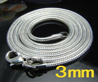 XMAS wholesale sterling solid silver 3mm snake chain necklace 16-24inch N302+box