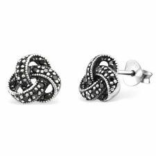 Celtic Silver Stud Earrings Black Cluster Cubic Zirconia 925 Sterling Silver