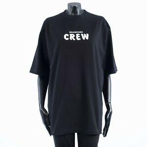 BALENCIAGA 615$ Oversized Crew Print Tshirt In Black Heavy Cotton Jersey