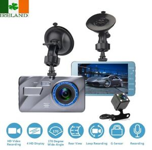 "New 4"" HD 1296P Car DVR Dual Lens Dash Cam Video Camera Recorder Night Vision"