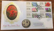 GB. 2014 cubierta de moneda Benham Primer Día Flora británica-simbólico Flores Post & Go