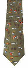 Mens Soprano Silk Country Tie Green Fly Fishing Angler Fish Fisherman Angling