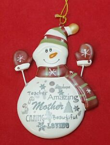 Mom Snowman Ornament Inspirational Gift Mother White Red Porcelain