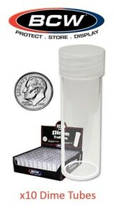 50 NEW BCW ROUND NICKEL CLEAR PLASTIC COIN STORAGE TUBES W// SCREW ON CAPS