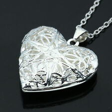 New Woman Man Couple Silver Heart Photo Picture Locket Pendant Chain Necklace