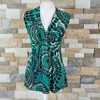 Karen Kane Women's Sz S Sleeveless Top Blouse Empire Waist Green Geo Print