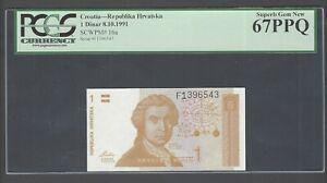 Croatia One Dinar 8-10-1991 P16a Uncirculated Graded 67
