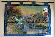 Thomas Kinkade's Cobblestone Bridge Wall Tapestry With Scripture & Wooden Pole