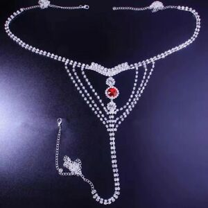Hot New Body Chain Jewelry Bra Thong Set Tassel Sexy Rhinestone Bikini Crystal